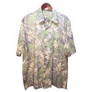 Tori Richard Green Beige Hawaiian Shirt Size XL